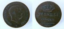 MONETA DA 5 TORNESI 1851 FEDERICO II DI BORBONE - REGNO DELLE DUE SICILIE (NC)