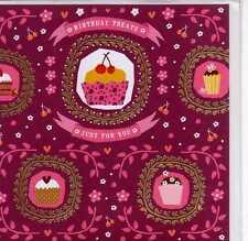 CARTE-BIRTHDAY TREATS-ROSE BORDEAUX-NEUVE-15,5 cm X 15,5 cm-DORURES-HOTCHPOTCH