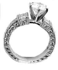 2.10CT G COLOR PRINCES CUT DIAMOND 1.00CT CENTER ENGAGEMENT RING 14K WHITE GOLD