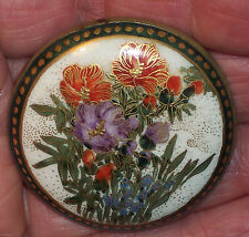 SUPERB GOLD ENCRUSTED ANTIQUE JAPANESE SATSUMA FLORAL BROOCH PIN HAT BUTTON SGND