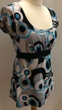 Ladies Geometric Retro White Black Teal Top Stretch Cut Out Ring On Back Size 12