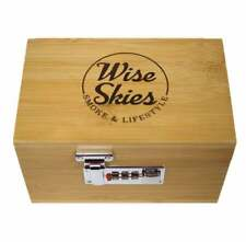More details for wise skies bamboo rolling box with combination lock / smoking rolling wooden box