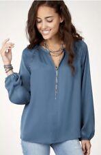 NWT STELLA & DOT Maette Lulu Blue Raglan Sleeve Studded Blouse Top Shirt Large