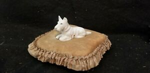 ANTIQUE MY LADY'S BOUDOIR PIN CUSHION PILLOW WITH PORCELAIN DOG TERRIER