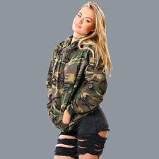 Women Long Sleeve Hooded Camouflage Lady Sweatshirt Hoodie Casual Tops M