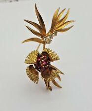 Retro 18K Gold Diamonds Rubies Brooch circa1914  MAGNIFICENT