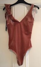 BERSHKA BODYSUIT PINK BLUSH PARTY SUMMER HOLIDAY TOP XS 6 NEW BNWT