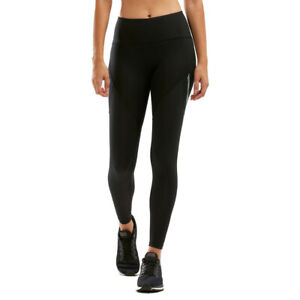 2XU Womens Mid-Rise Run Dash Line Tight - Black Sports Running Breathable