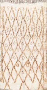 Vegetable Dye Ivory Moroccan Berber Oriental Area Rug Handmade Plush Wool 5x8