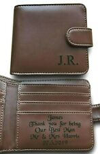 Mens Personalised Leather Wallet Wedding Gift Best Man Usher Father of The Bride