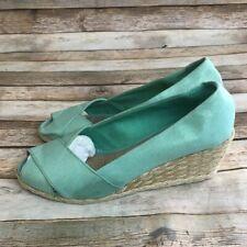 Ralph Lauren Womens Mint Green Linen Upper Espadrille Open Top Wedges Shoes 8 M