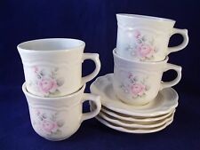 Pfaltzgraff Stoneware Tea Rose ~ 4 Cup & Saucer Sets USA  C