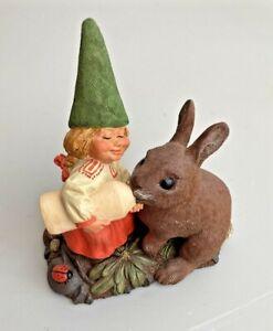 "Rien Poortvliet Gnome Dwarf Martha with Bunny 1989 USA  5 3/4"""