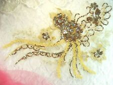 "Embroidered 3D Applique Bronze Gold Floral Sequin Patch 14"" (DH75)"