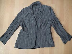 Damen Walter Krines Berlin Cardigan Blazer Jacke Gr. 44 grau-ton 55% Leinen lang