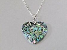 Abalone Paua Shell Love Heart Pendant Silver Plated Necklace Nice Gift!!