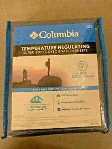 NIP Columbia Temperature Regulating Cotton Sateen 4 Pc Sheet Set, FULL, Stratus