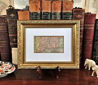 Framed Original 1886 Antique Map CONNECTICUT Greenwich Norwalk New Haven London