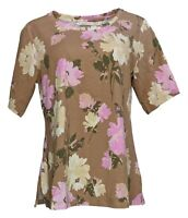 Isaac Mizrahi Live! Women's Top Sz M Floral Printed Knit Brown A387518