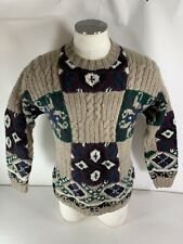 Tommy Hilfiger Men's Shetland Wool Hand Knit Heavy Ski Sweater Abstract SMALL