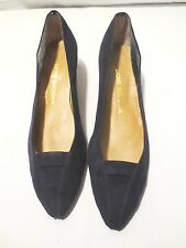 Vtg 60's Mod Winsome Shoes Patent Leather Alligator Navy Blue Suede Size 8 1/2 B