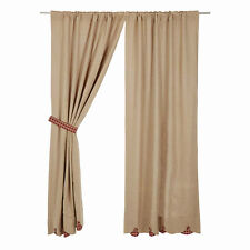 Burlap Natural Burgundy Check Curtain Panel Set by VHC Brands