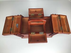 Vintage Singer Small Wooden Accordion Style Sewing Chest/Storage Box Fold-Out