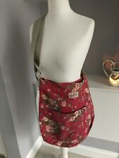 Cath Kidstone Red Flower Cotton Canvas Large Cross Body Handbag Shoulder Bag
