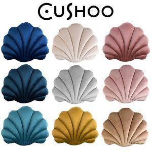 Velvet Seashell Cushion Decorative Nursery Throw Pillow Sofa Boudoir Large UK