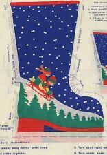 Christmas Stocking Fabric Panel Ice Skate Snow Sled Kids  1/2 Yard 1970's Vtg
