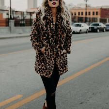 Vintage Faux Fur Leopard Coat Outwear Jacket Thicken Overcoat Ladies Winter Warm