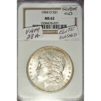 1904-O MORGAN DOLLAR VAM 28A ELITE CLASHED DIE -  NGC MS62! - AA907TCST1