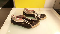 Lacoste womens shoes size 8 decent condition canvas black pink white yellow