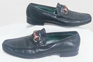 Vintage Gucci Italy 80s Black Leather Gold Horsebit Loafers Shoes Men's Size 42