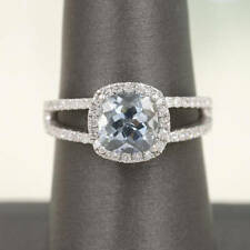 Diamond Halo 7mm Cushion Aquamarine Split Shank 14k White Gold Engagement  Ring