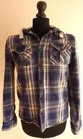 Peacocks Ladies Blue Checked Shirt with Removable Hoodie Size M