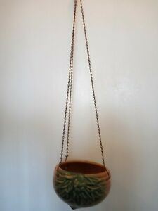 Vintage McCoy Leaves And Berries Hanging Planter & Chain Brown Green Excellent