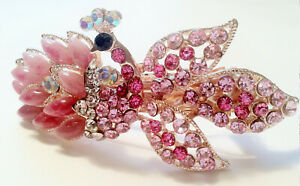 Stunning Peacock Design Hair Barrette Pink Made with Faux Jade and Rhinestone
