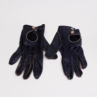Fownes Vintage Soft Leather Black Driving Gloves Size Medium Brown Stitching *