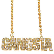Gold GANGSTER GANGSTA necklace chain bling hip hop rap 90s 80s costume accessory