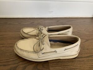 Mens Ivory Leather SPERRY TOP SIDER A/O Boat Shoes - Size US 10.5 M