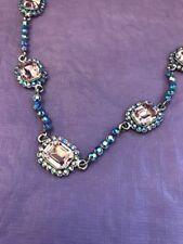 Butler & Wilson collier épaisse Or Bijouterie Fantaisie Rose Aqua Blue Stone