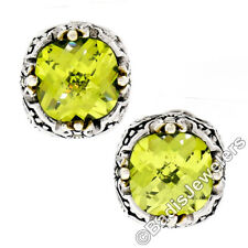 Sterling Silver & 14k Gold Cushion Cut Peridot Floral Stud Omega Back Earrings