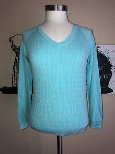 Womens Callaway Baby Blue Golf Ribbed Sweater Size S