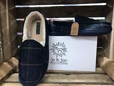 Jo & Joe Mens Glengarry Navy Tweed Fur Lined Moccasin Slippers
