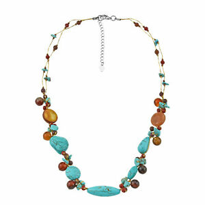 Colorful Splash Turquoise and Brown Stone and Crystal Silk Thread Necklace