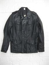 * Diesel para hombres Cuero Negro Chaqueta de estilo militar Clásico * Grande L *