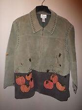 NWOT Quacker Factory Autumn Embellished Suede Zip Front Shirt Jacket Sz. 3X