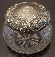 Antique Unger Bros Sterling Silver Floral Repousse Powder Jar Diamond & Fan Mono