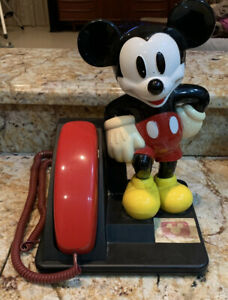 Vintage Disney MICKEY MOUSE PHONE 1990 AT&T Line Desk Telephone WorksRare